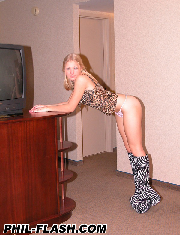 Young blonde models numerous outfits during non nude solo action