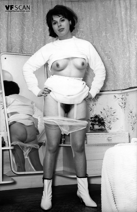 Vintage porn models showing their breasts and hairy beavers wearing  stockings ...