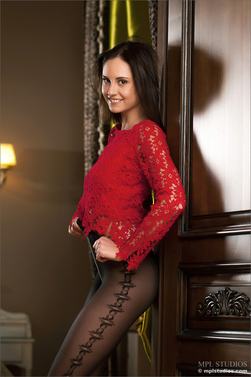 Pantyhose brunette in dark
