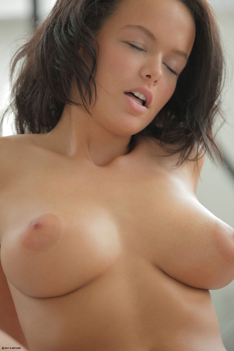 Busty brunette spends some time riding her guy after having her twat licked
