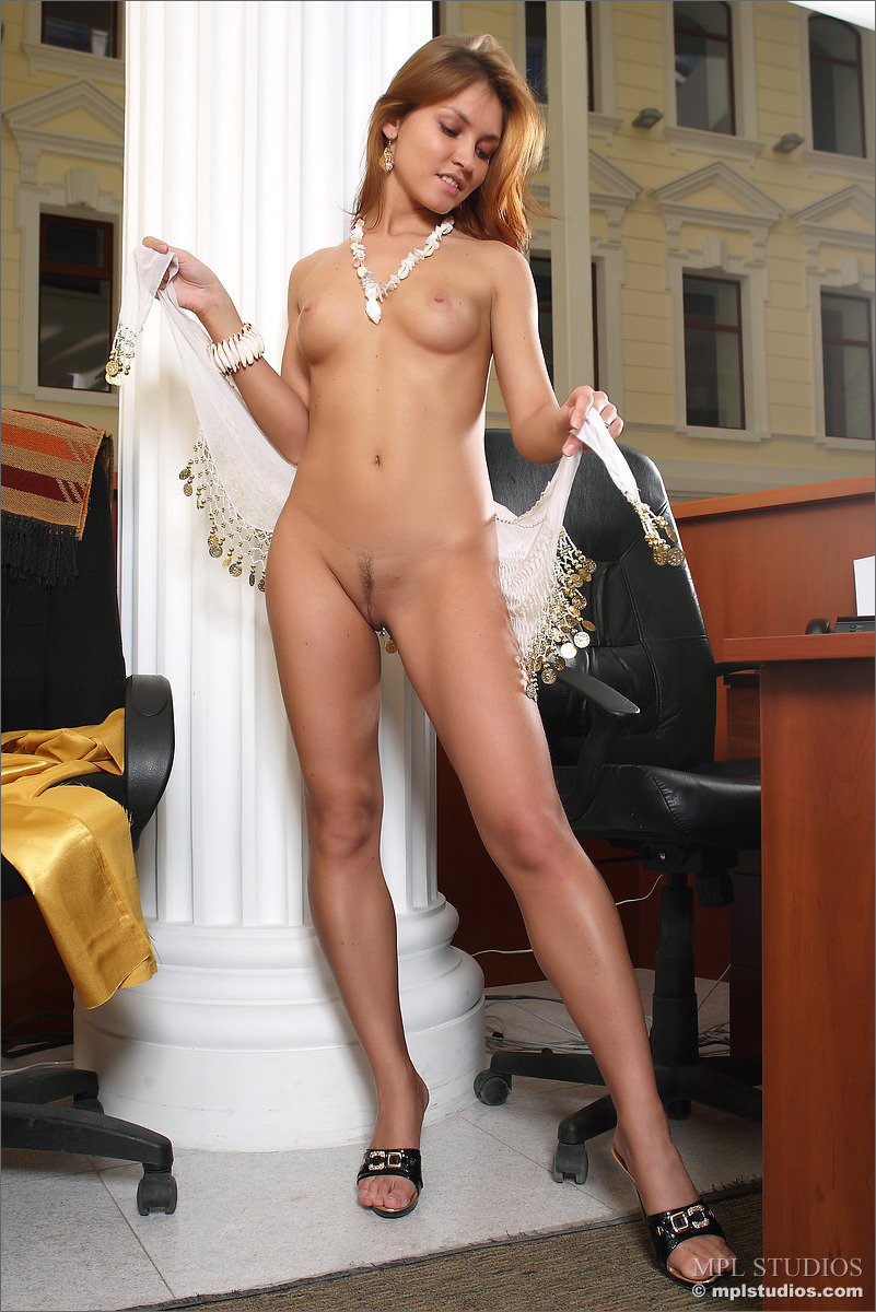 beautiful naked in office