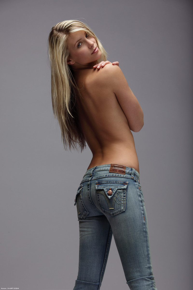 Topless sexy jeans blonde