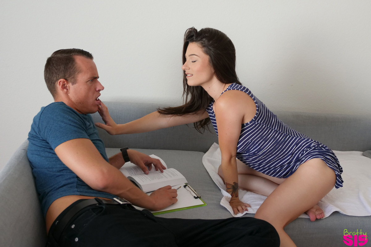 Young brunette girl Lacey Channing gets fucked after being caught masturbating