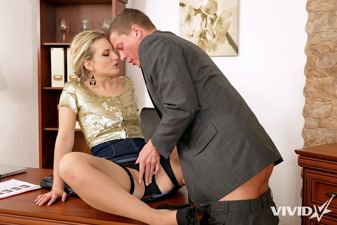 Elegant Russian secretary rides the boss