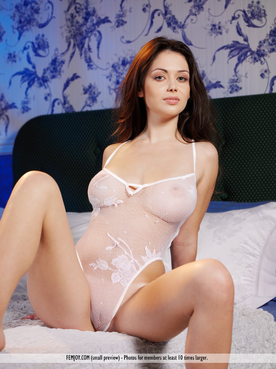 Sexy brunette sheer lingerie have quickly