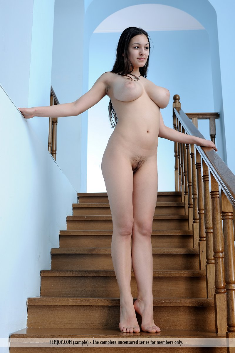 Beautiful busty brunette Sofie stretches nude on the stairs showing hairy muff