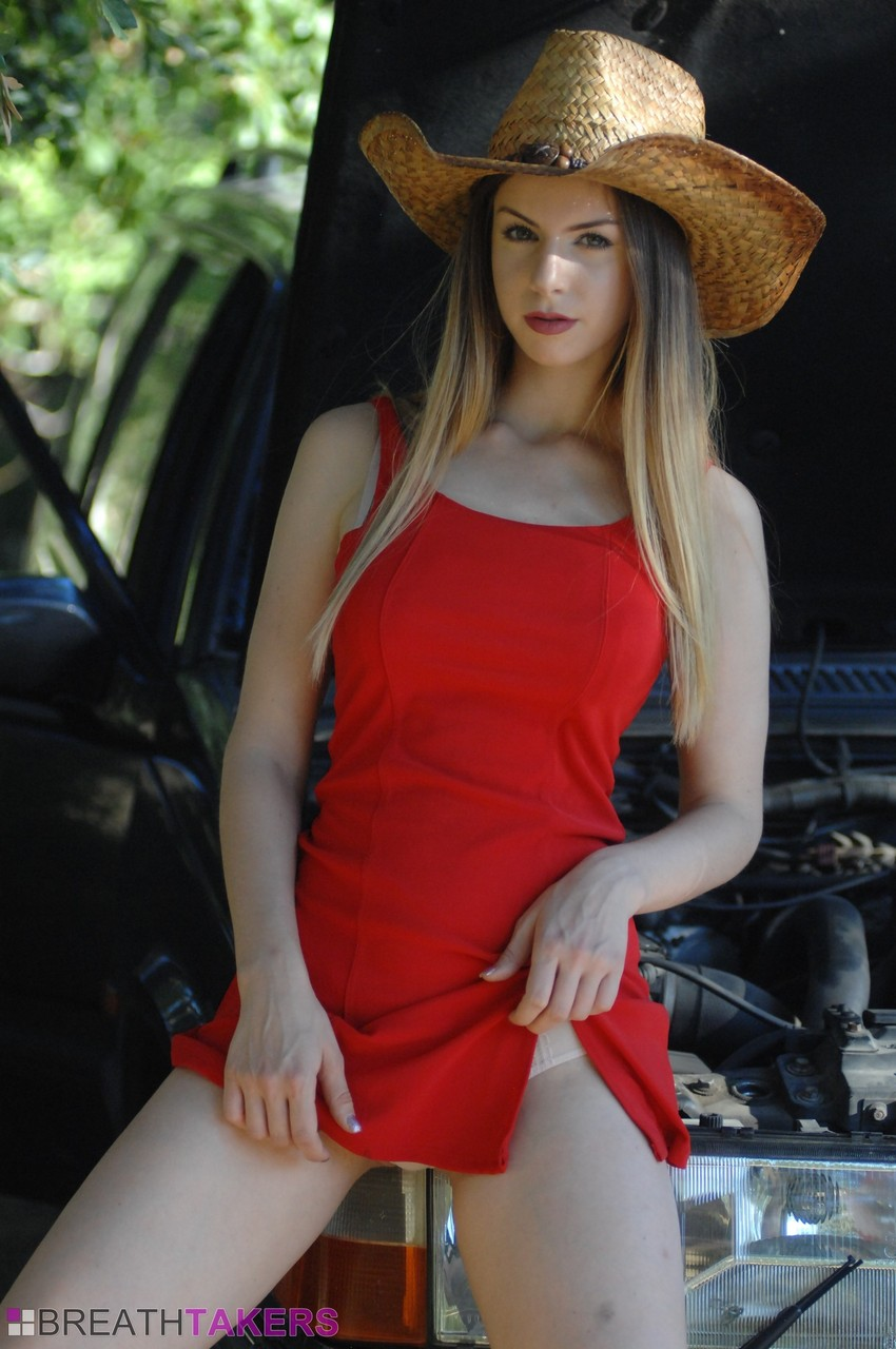 Glamour model Stella Cox removes her cowgirl attire until she