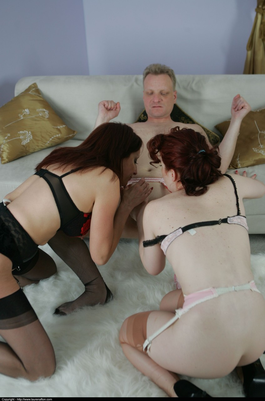 Blowjob buddies Abigail Fraser  Angie tag team a herd cock in hot threesome