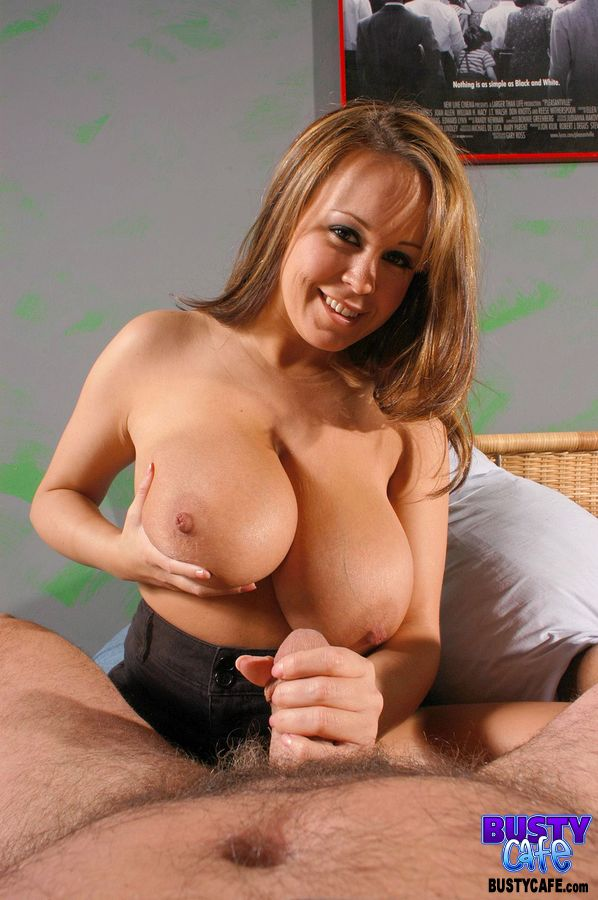 ... Sweet busty Brandy Taylor whips out her huge big tits to give a POV  handjob ...