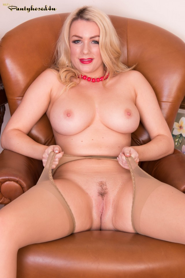 British Blonde Penny Lee In Red Dress And Crotchless Pantyhose Erocurves 1