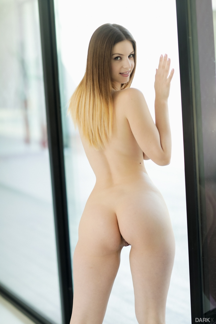 Beautiful solo model Stella Cox strips off crotchless bodysuit to pose nude