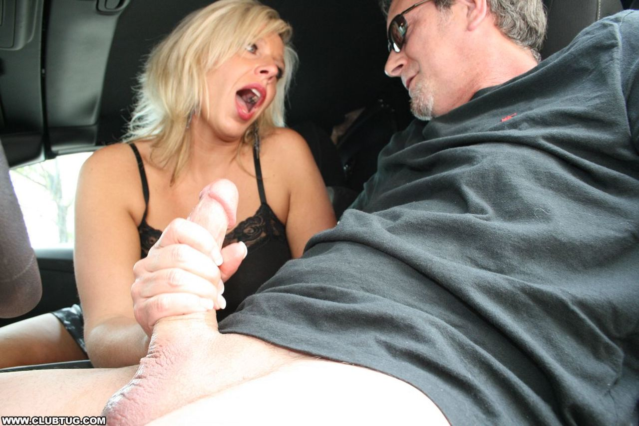 Handjob cumshot in the front of a car