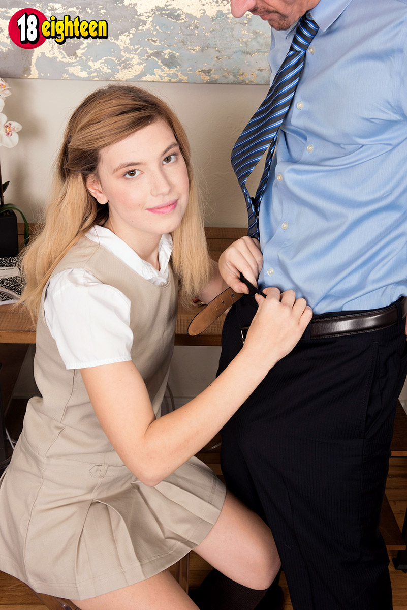 Schoolgirl Madison Breeze disrobes to show stepdad tiny tits  give handjob
