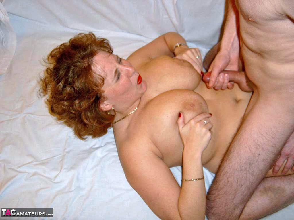 Fat redhead Curvy Claire sucking a small cock titty fucking with her BBW tits