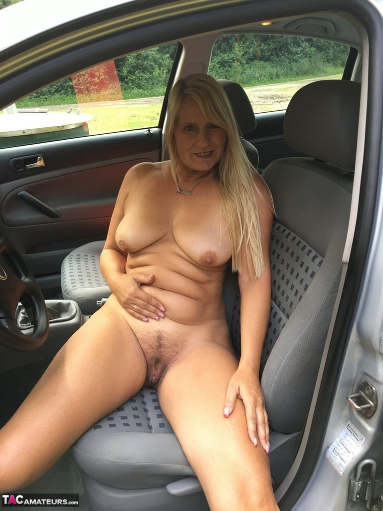 naked slut on car