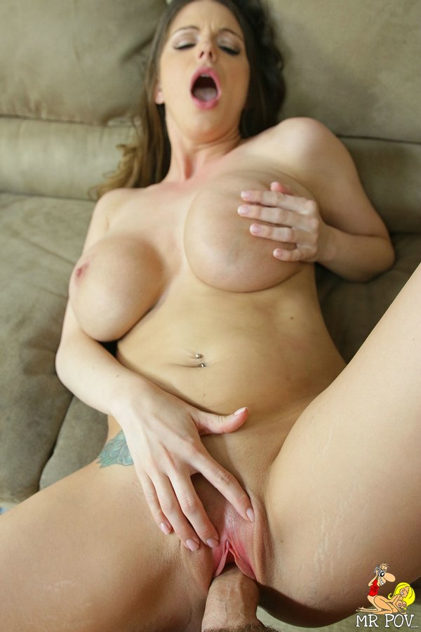 Brunette chick Brooklyn Chase uncovers her juggs before a POV suck and fuck