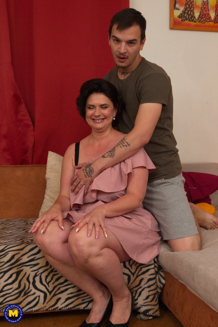 Big boobed mature woman cheats on her husband with a much younger man