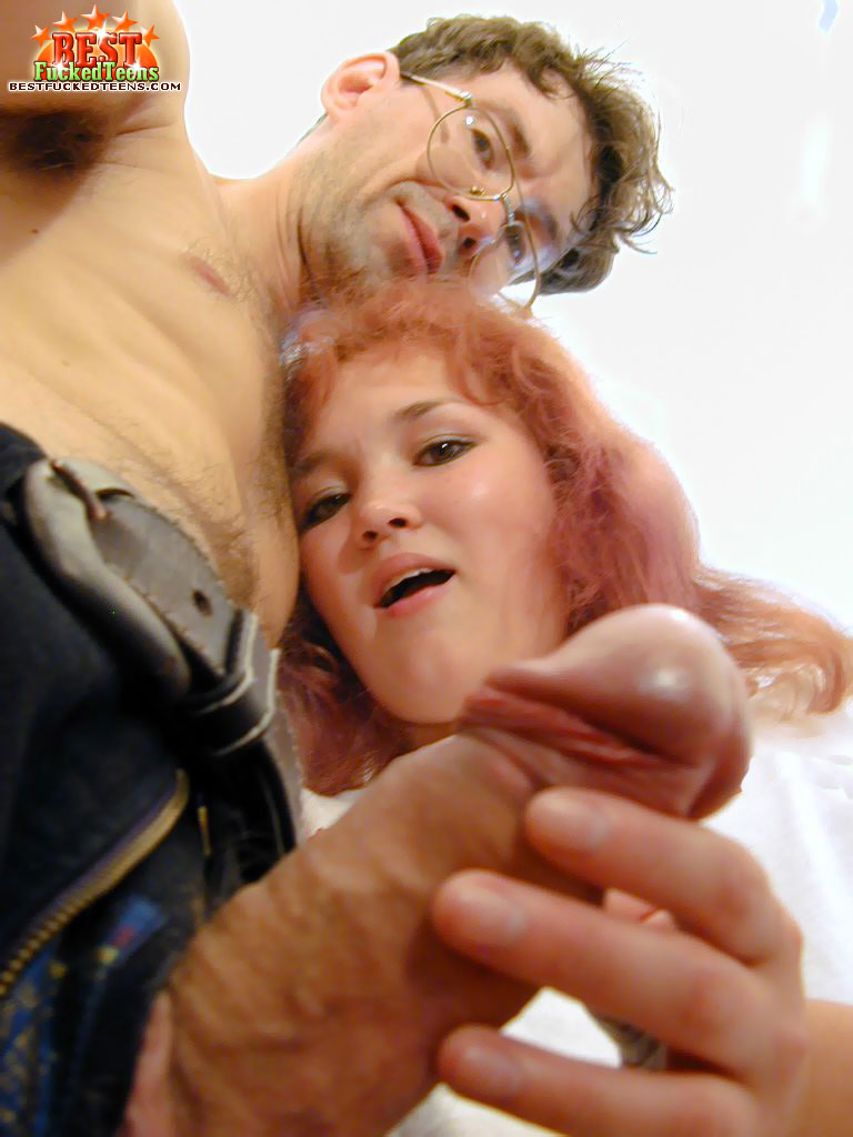 Young redhead gets cum on face after fucking a dirty old man