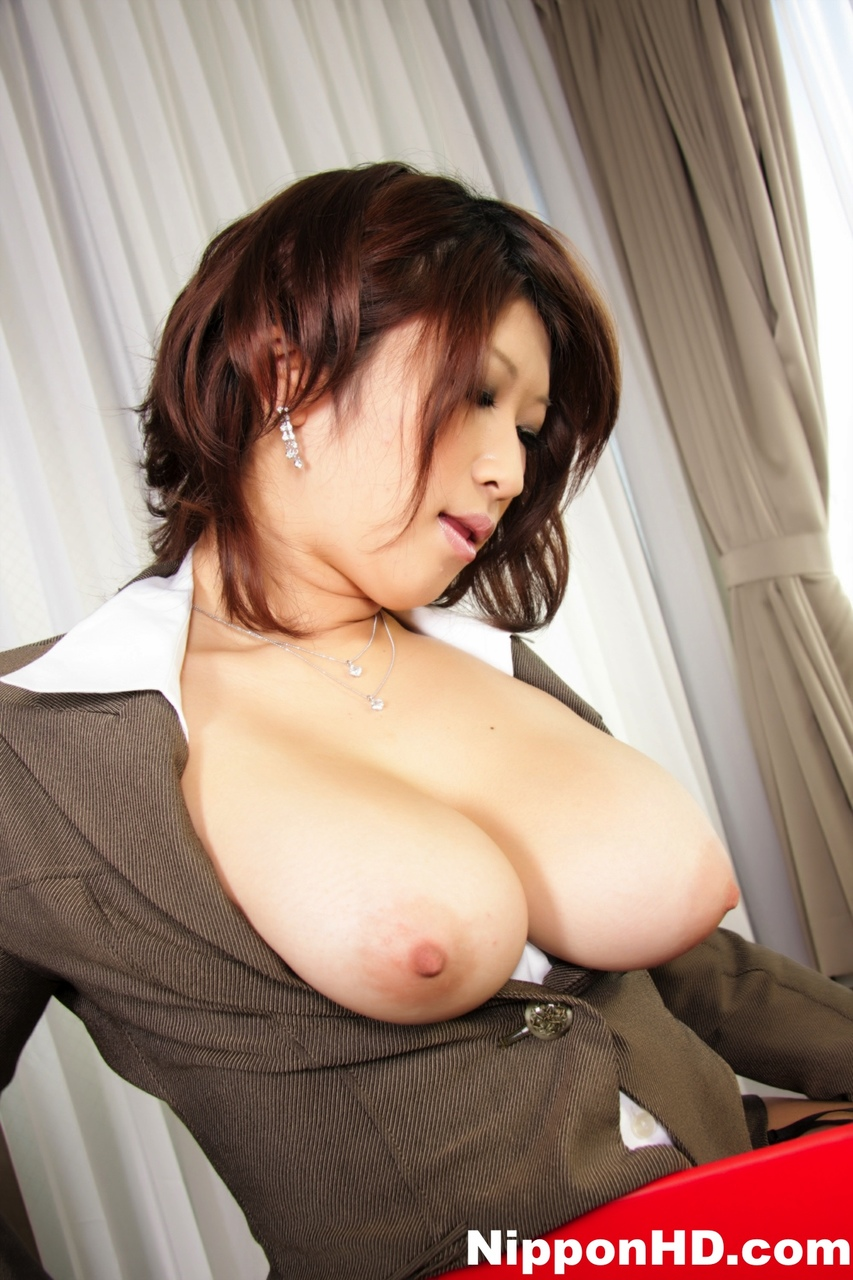 ... Japanese MILF exposes big natural tits in nylons and garters ...