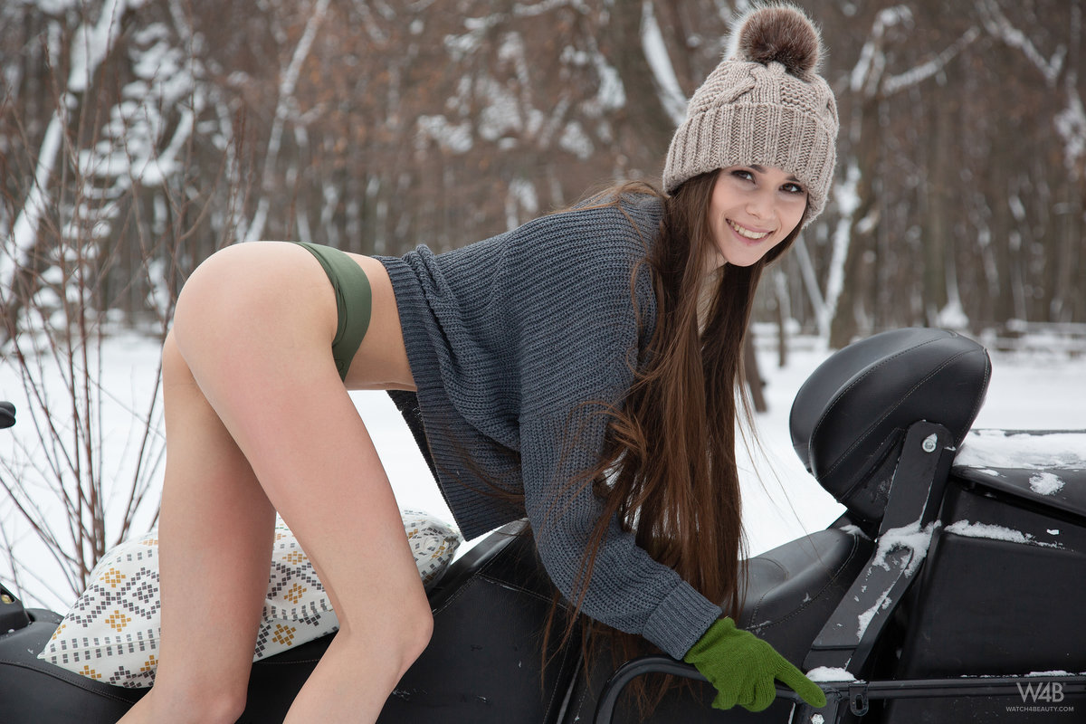 Teen model Leona Mia shows her tits and twat atop a snowmobile in the winter порно фото #422405695 | Watch 4 Beauty, Leona Mia,, мобильное порно