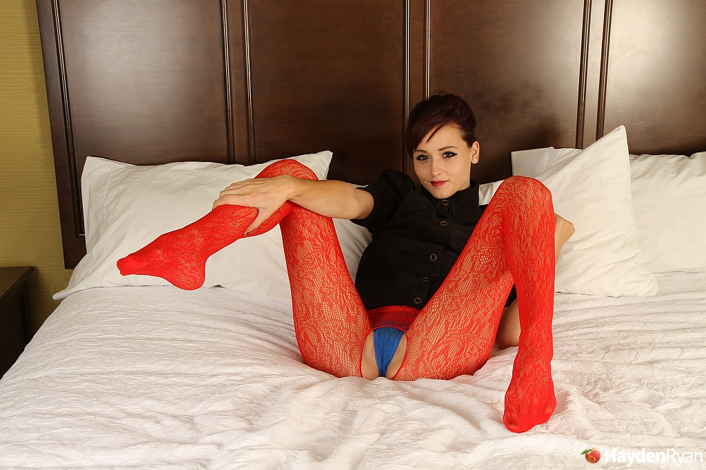 Short haired girl Hayden Ryan models non nude in crotchless bodystocking