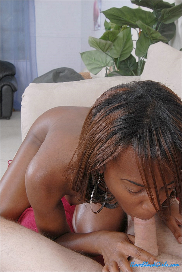 Naked ebony girl sucks the sperm out of a white dick from a POV perspective