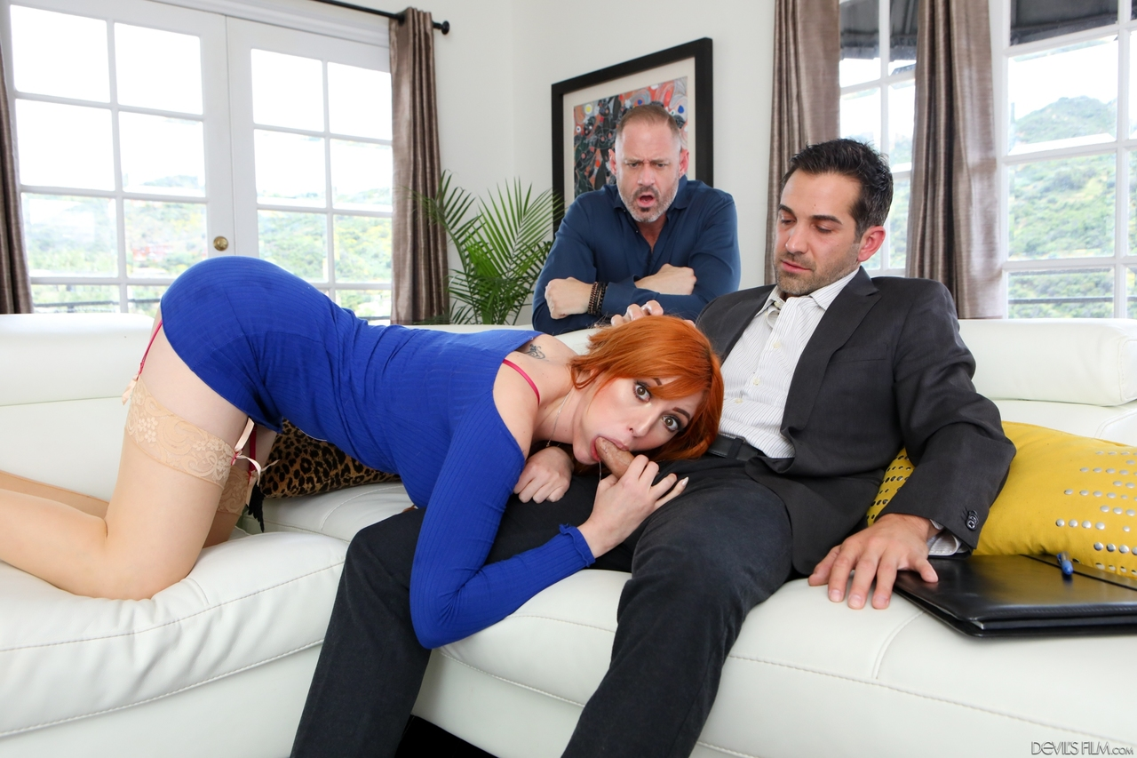 Hot wife with long red hair Lauren Phillips gets fucked afore her cuckold