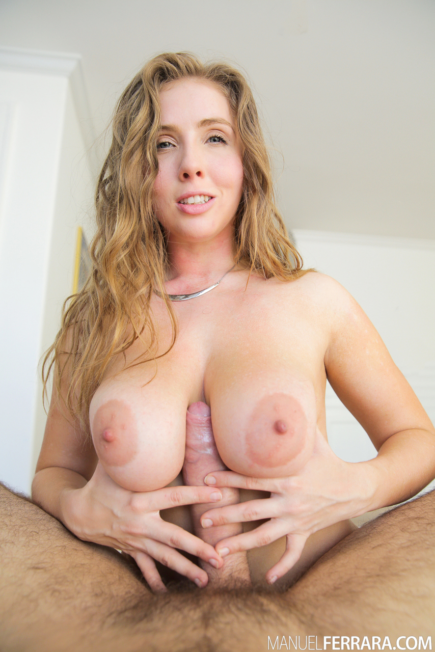 Big titted chick Lena Paul removes red bra and panty set before riding a cock