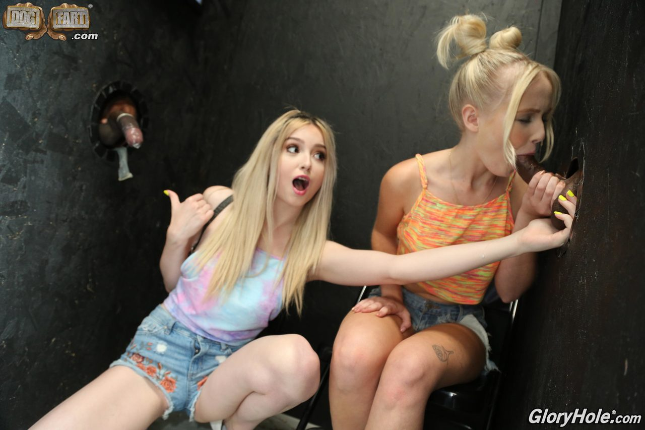 Young blondes wear jizz on their faces after interracial gloryhole action
