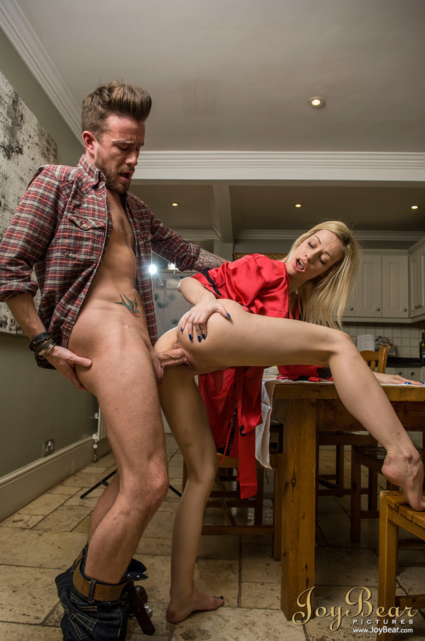 Busty blonde wife Chessie Kay seduces her man in a satin robe and underthings