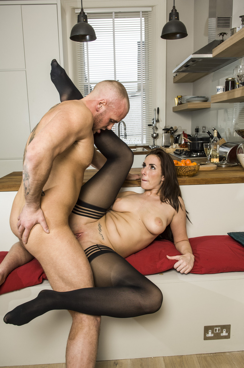 Horny girl Paige Turnah seduces her man in bra and panty set and black hosiery