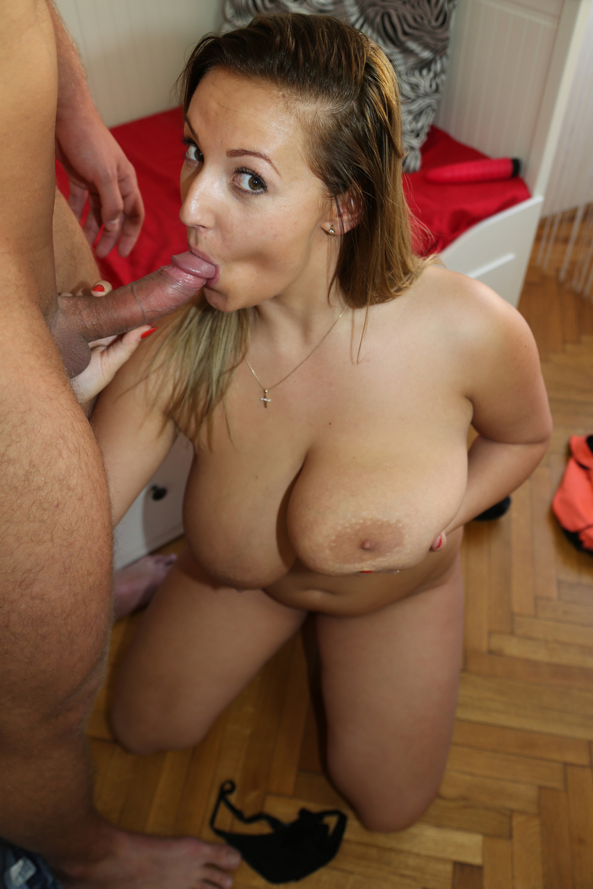 Thick girl Krystal Swift catches a cumshot on her knockers after a quick fuck