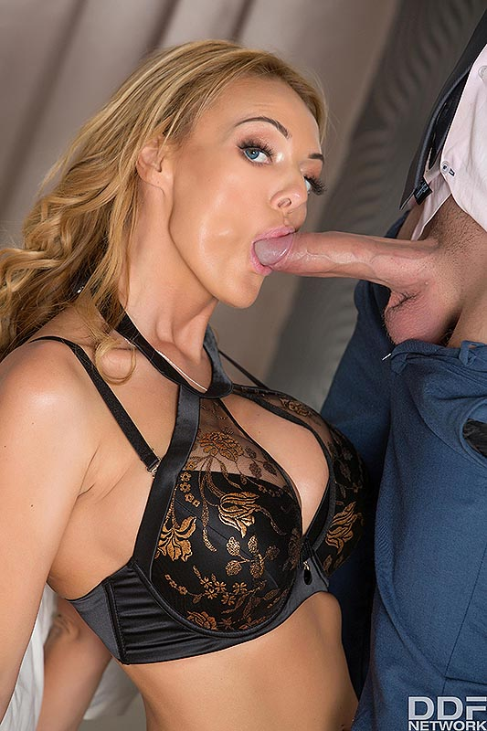 Big titted blond Stacey Saran seduces her man in black lingerie and tan nylons