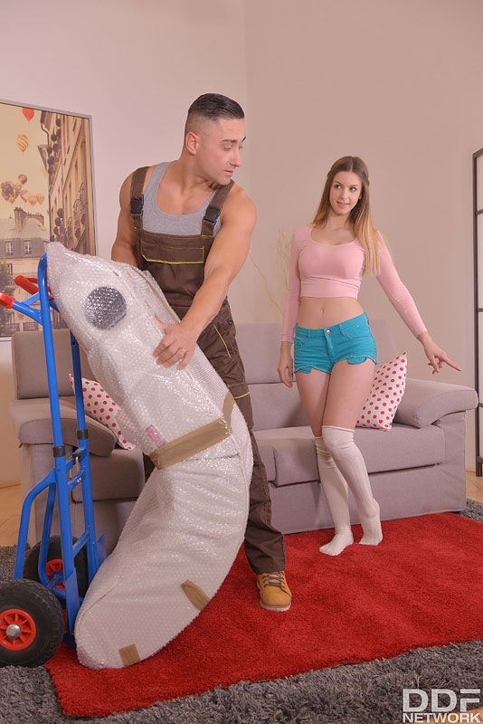Pretty girl Stella Cox seduces the delivery man in shorts and OTK socks