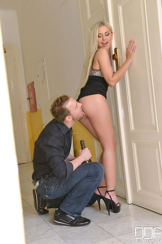 Leggy blonde Lola N seduces her man in a black dress and heels after some wine