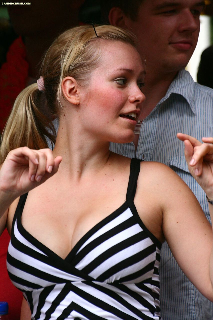 Teen girls at a street party are secretly recorded by a public voyeur