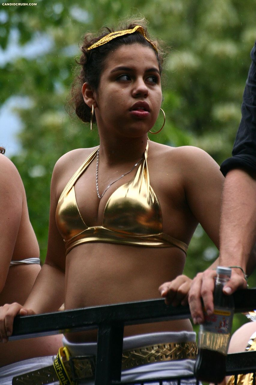 Teen girl exposes her small breasts during a party in public