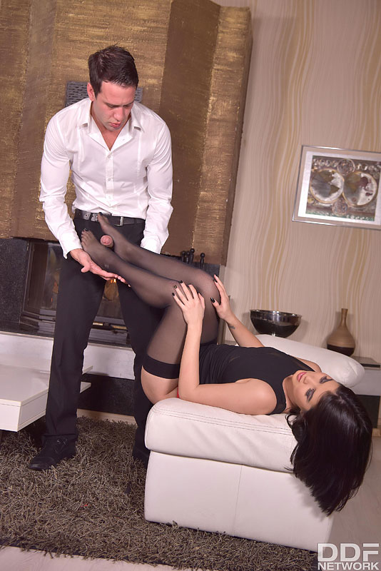 Dark haired chick Lady Dee has her feet worshiped in nylons before intercourse