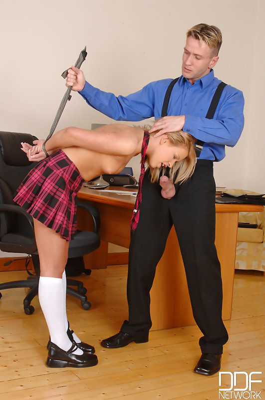 Bad schoolgirl Lydia is forced to suck her teachers dick after being spanked