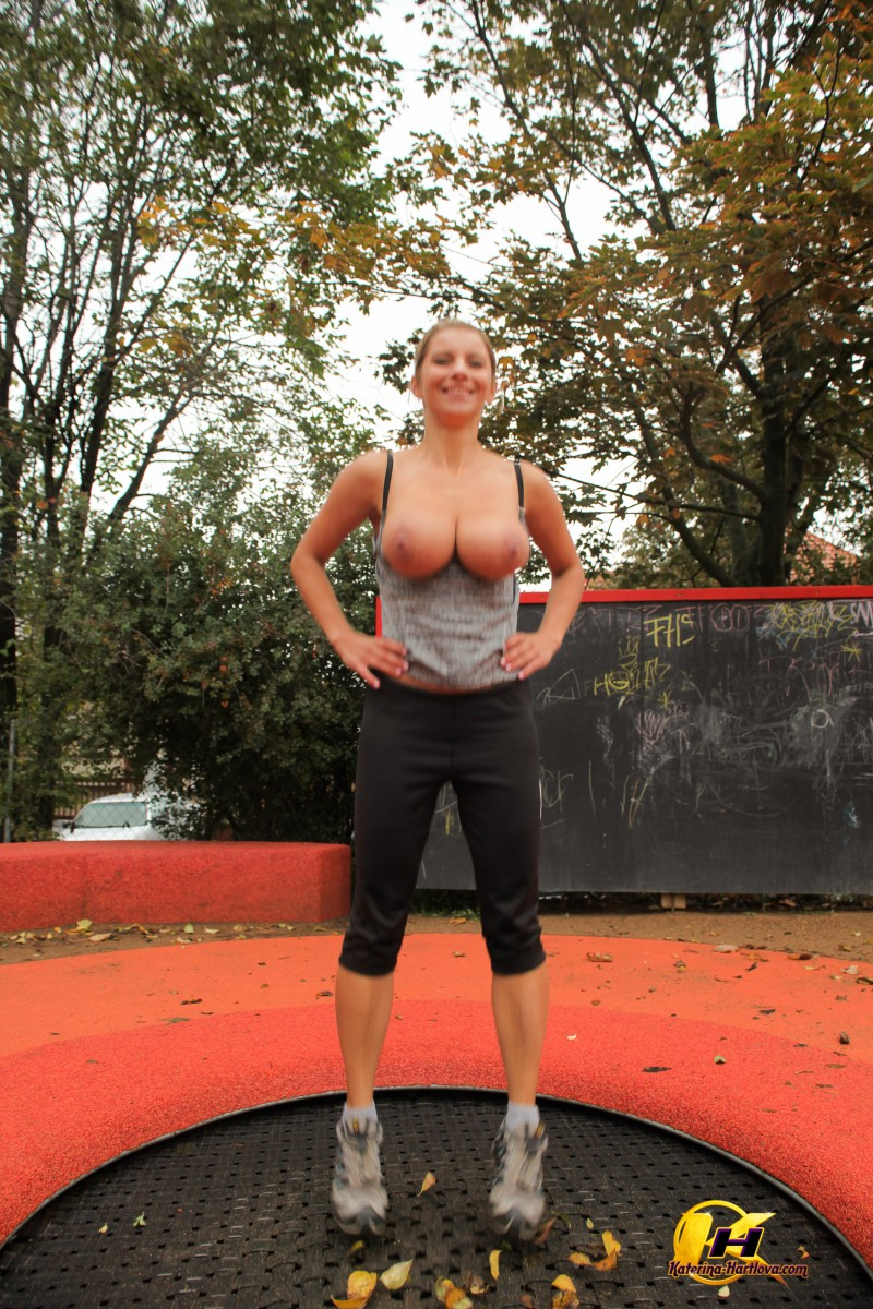 Athletic amateur Katerina Hartlova unleashes her huge boobs on a playground