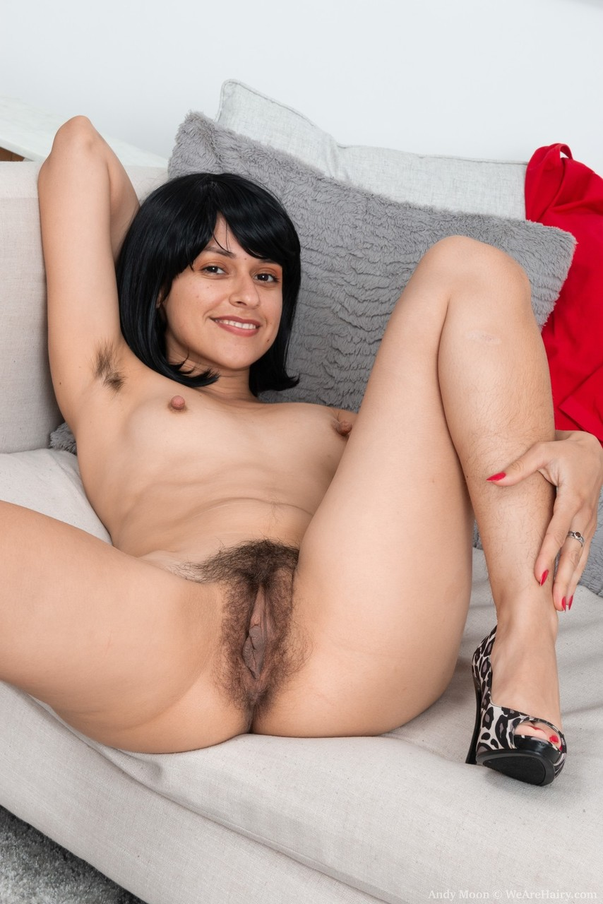 Dark haired amateur Andy Moon proudly shows her unshaven body after disrobing
