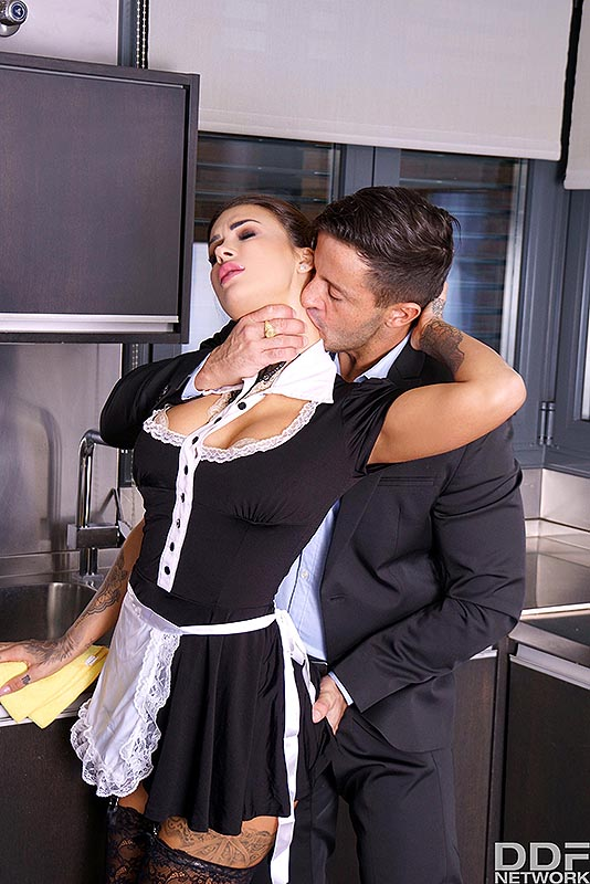 Hot maid Susy Gala seduces her employer by shoving her ass in his face