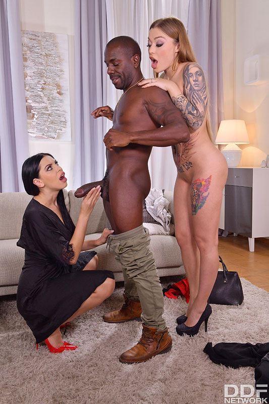 Hot girls Kira Queen  Misha Maver take on a big black dick during a threesome