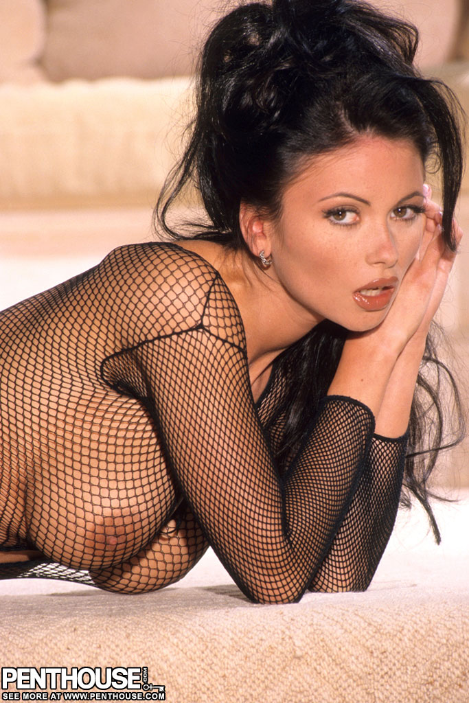 Hot brunette Veronika Zemanova showcases her twat in a crotchless bodystocking