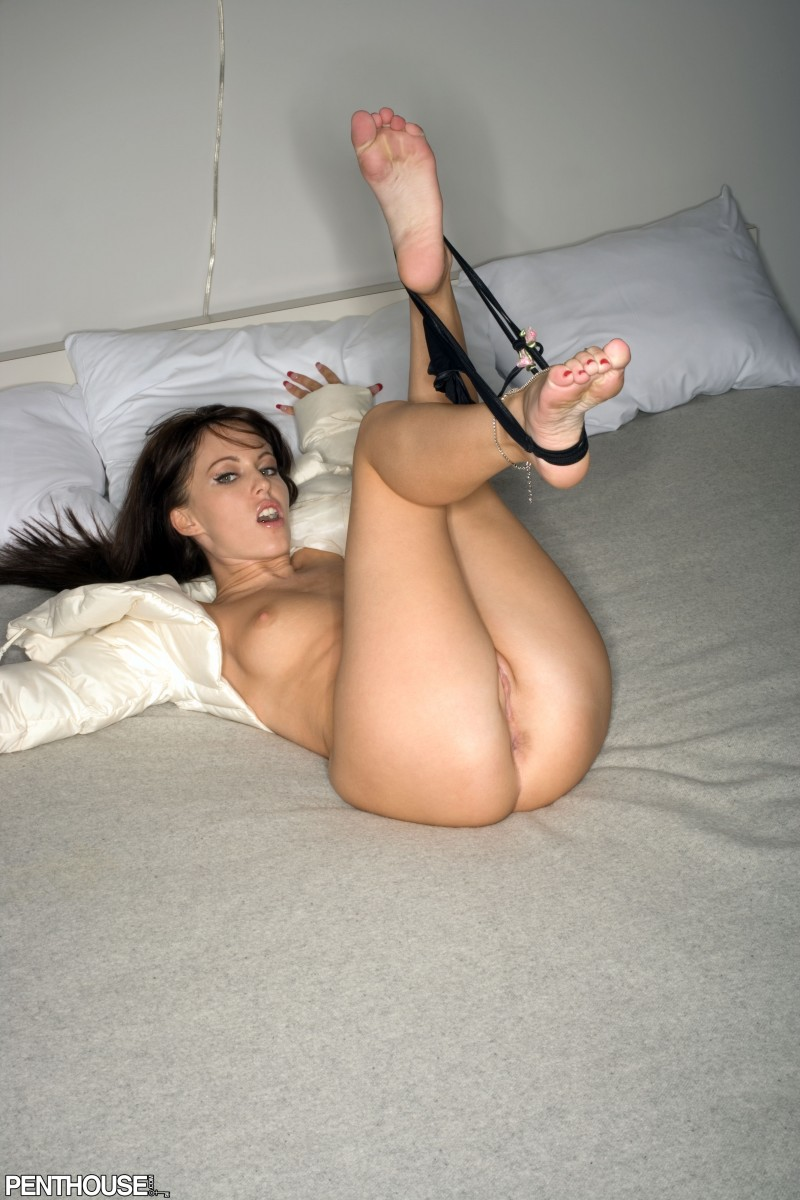 Centerfold model Jenna Presley spreads her nice legs to show her naked pussy
