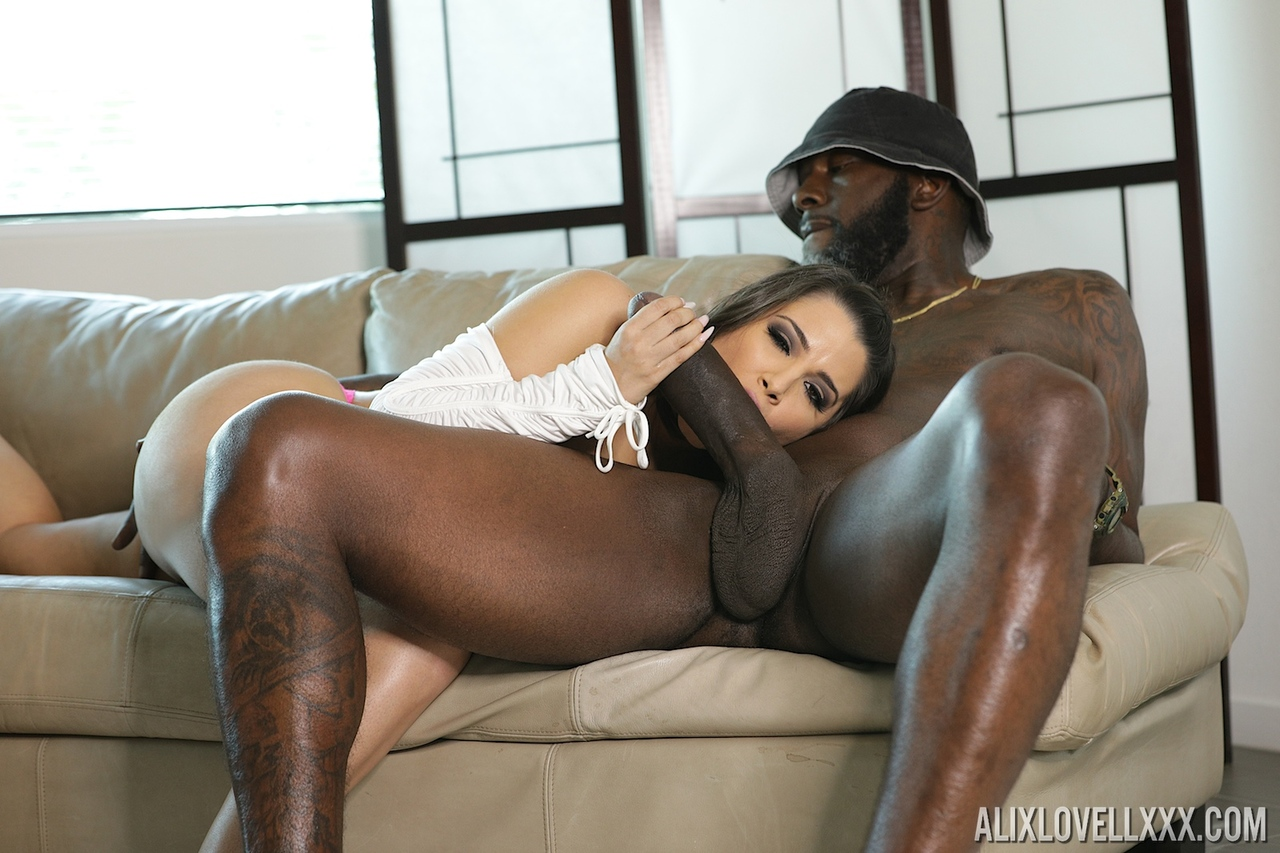 Thick chick Alix Lovell sucks on a massive black dick before and after sex