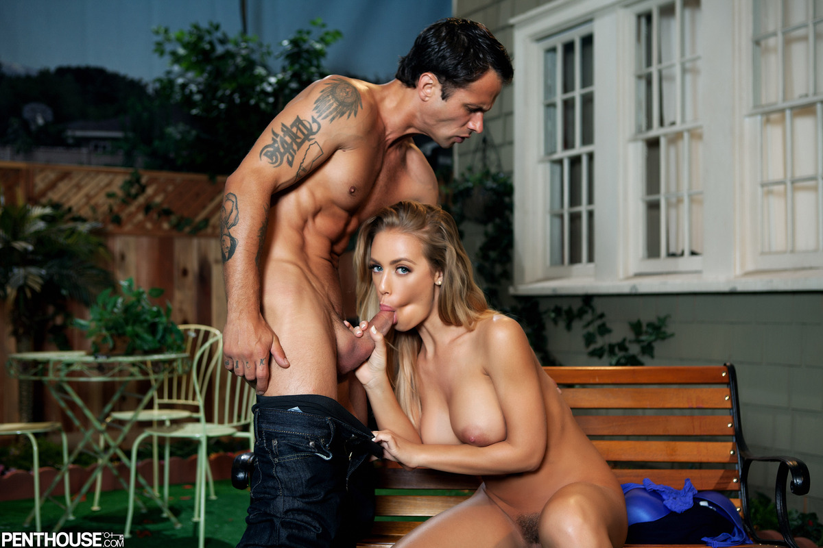Tall blonde Nicole Aniston holds her big tits for a cumshot after intercourse