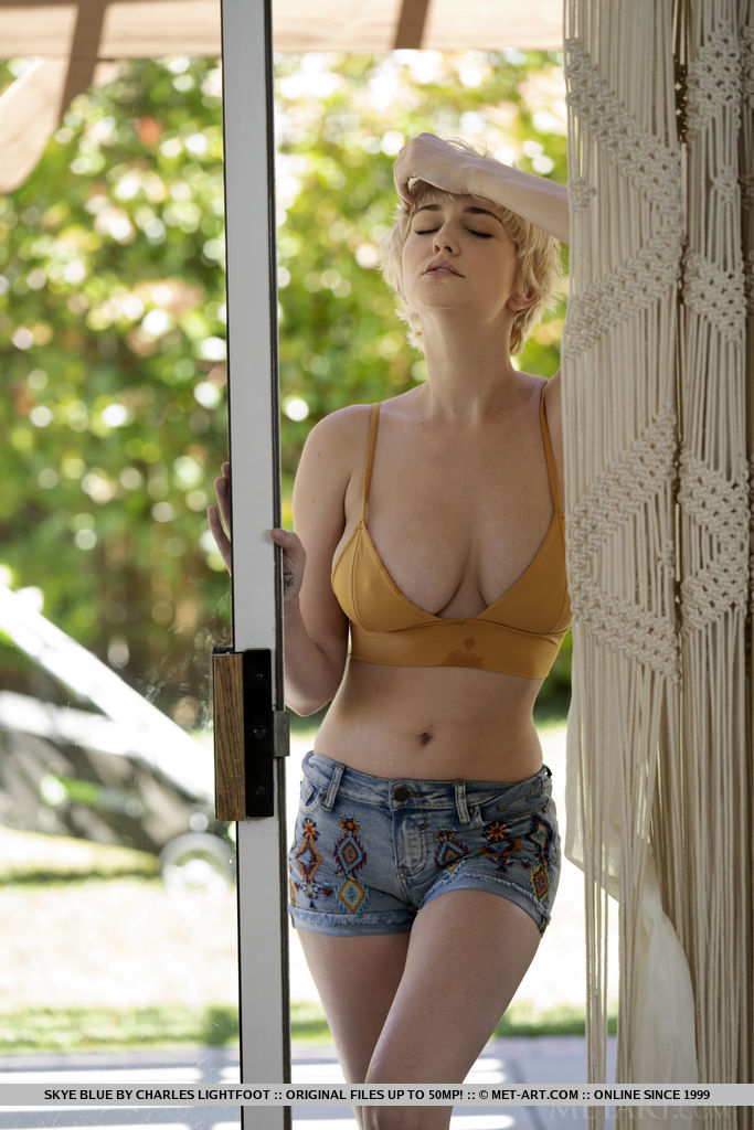 Short haired blonde Skye Blue uncups large tits before showing her bald slit